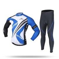 XINTOWN Bleu Hommes VTT Vélo De Route Vélo D'hiver Chaud À Manches Longues Veste Ensembles Costume Vélo Équitation Coupe-Vent Respirant Vêtements