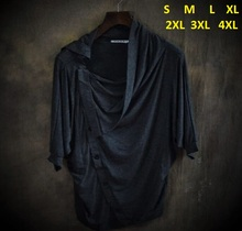 New arrivalHigh end Mens Clothing  non mainstream Mens Tops & Tees Male Fashion asymmetric Batwing sleeve T shirts 2 Colors