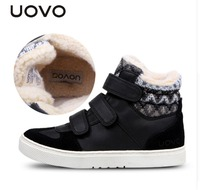 UOVO Winter Children Shoes PU Leather Plush Kids Shoes Brand Girls And Boys Fashion Sneakers Children