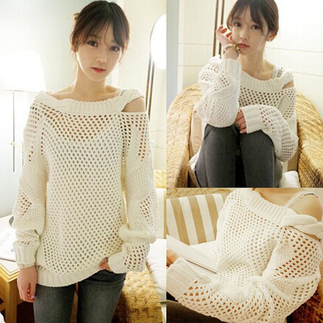 2016 Autumn Women Clothes Off Shoulder Cable Knitted Sweater Casual