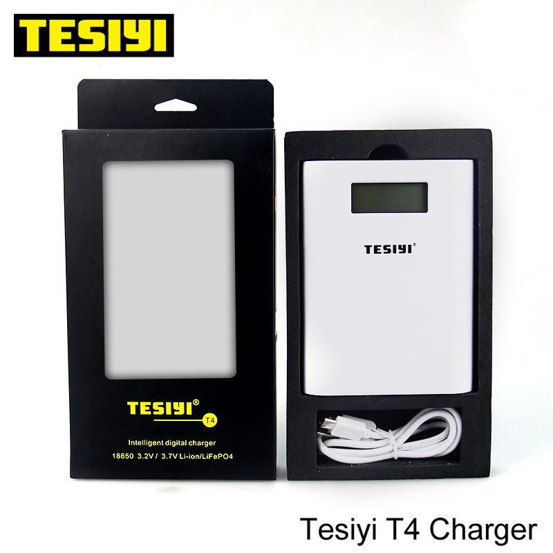 100% Original TESIYI T4 18650 battery Charger Power Bank Tesiyi T4 Smart Digital Charger E-Cigarette for 3.7v 18650 Lithium cell
