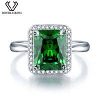 DOUBLE R 925 Sterling Silver Ring Created Emerald Gemstone Ring Embroidery