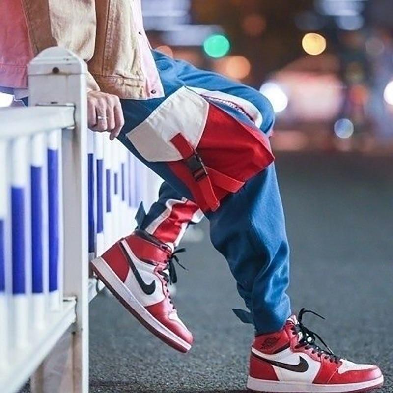 Mens Cargo Harem Pants Hip Hop Casual Pant Male Tatical Joggers Trousers Fashion Streetwear with Side Pockets