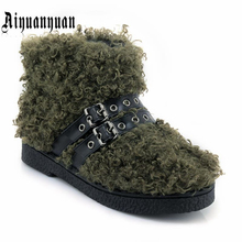 Aiyuanyuan Теплые Зимние ботильоны Большие размеры 40, 41, 42, 43 размеры 44, 45 шерстяные и пряжки дизайн Туфли на низком каблуке