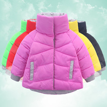 Korean version of the children's cotton-padded candy color warm jacket new fall and winter clothes