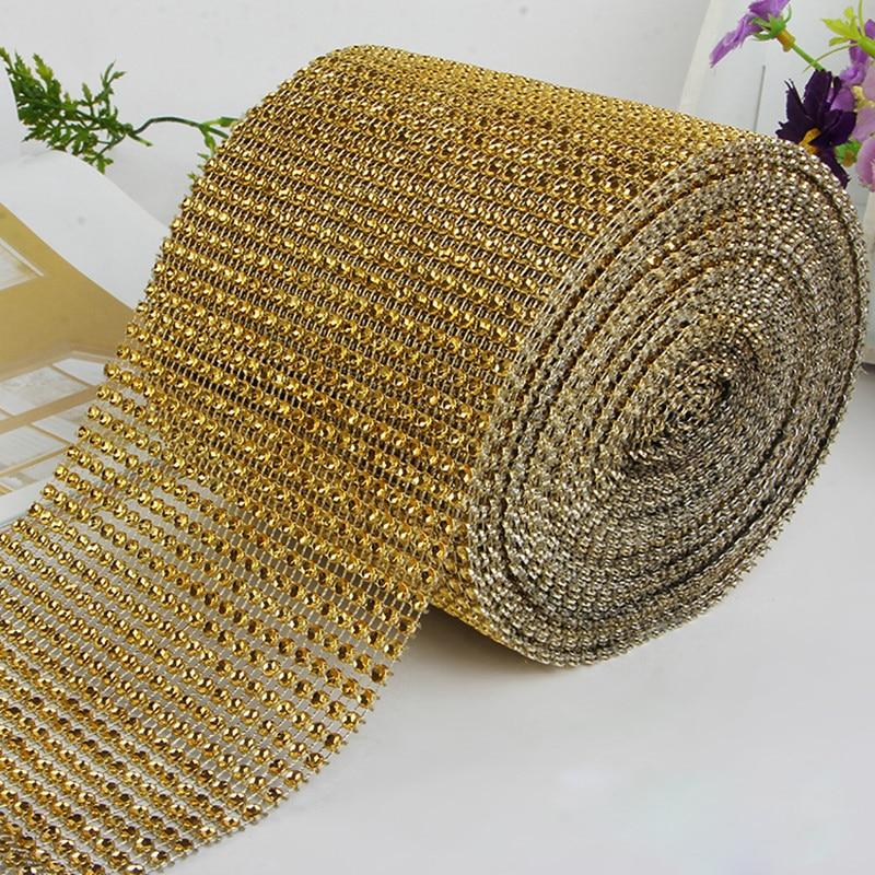 Width 24 Rows Gold Deco Mesh Trim Wedding Decoration Bling