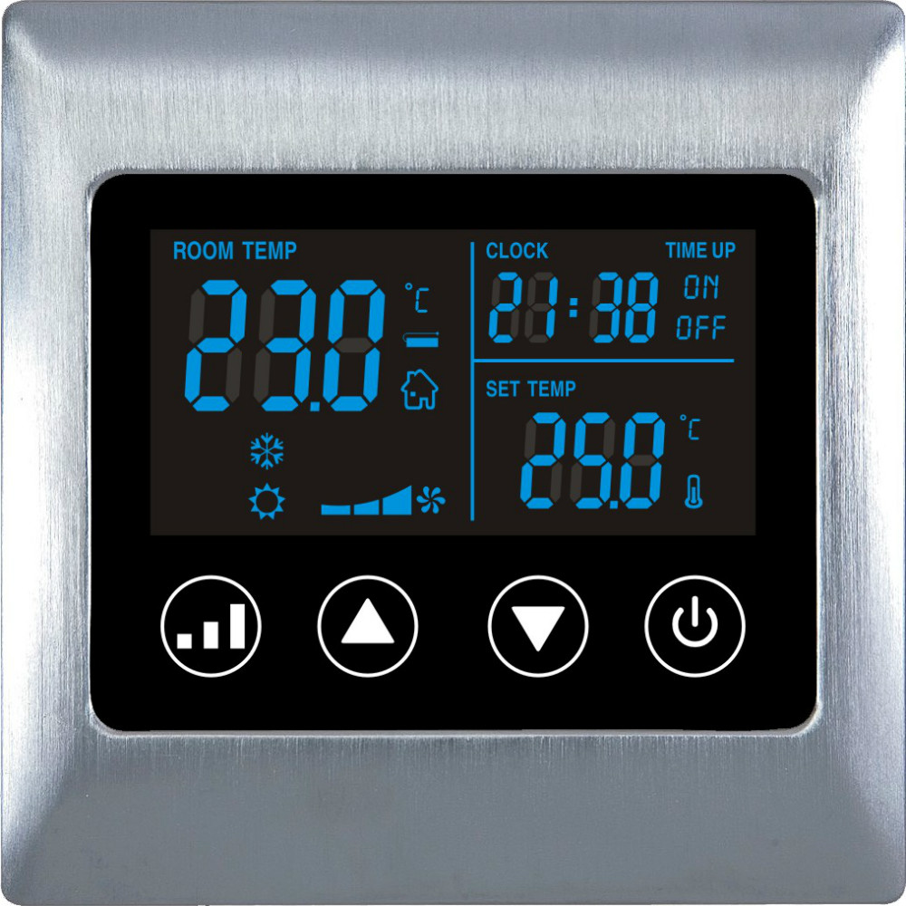 Touch Screen lcd hotel room Digital Thermostat  with Metal material hm digital valve shower controller 3 ways led touch screen control thermostat display lcd smart power outlet is compatible