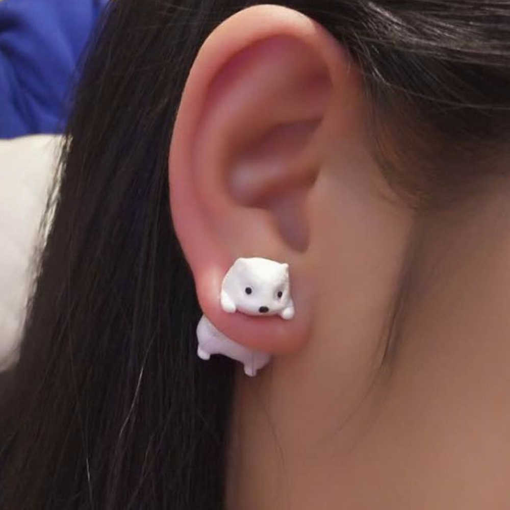 TTPAIAI 30 Polymer Clay Cute White Field Mouse Earrings For Women Girls Fashion Handmade 3d Kawaii Animal Stud Earring Kids Gift