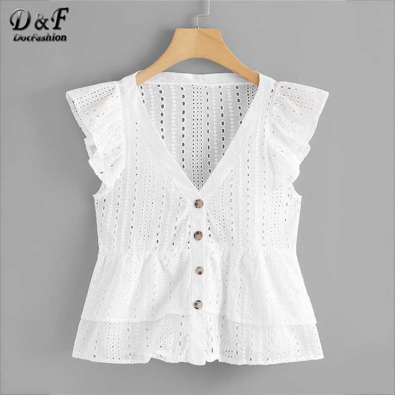 Dotfashion White Single Breasted Ruffle Sleeve Blouse Women 2019 Summer Casual V Neck Cap Sleeve Clothes Peplum Ladies Tops