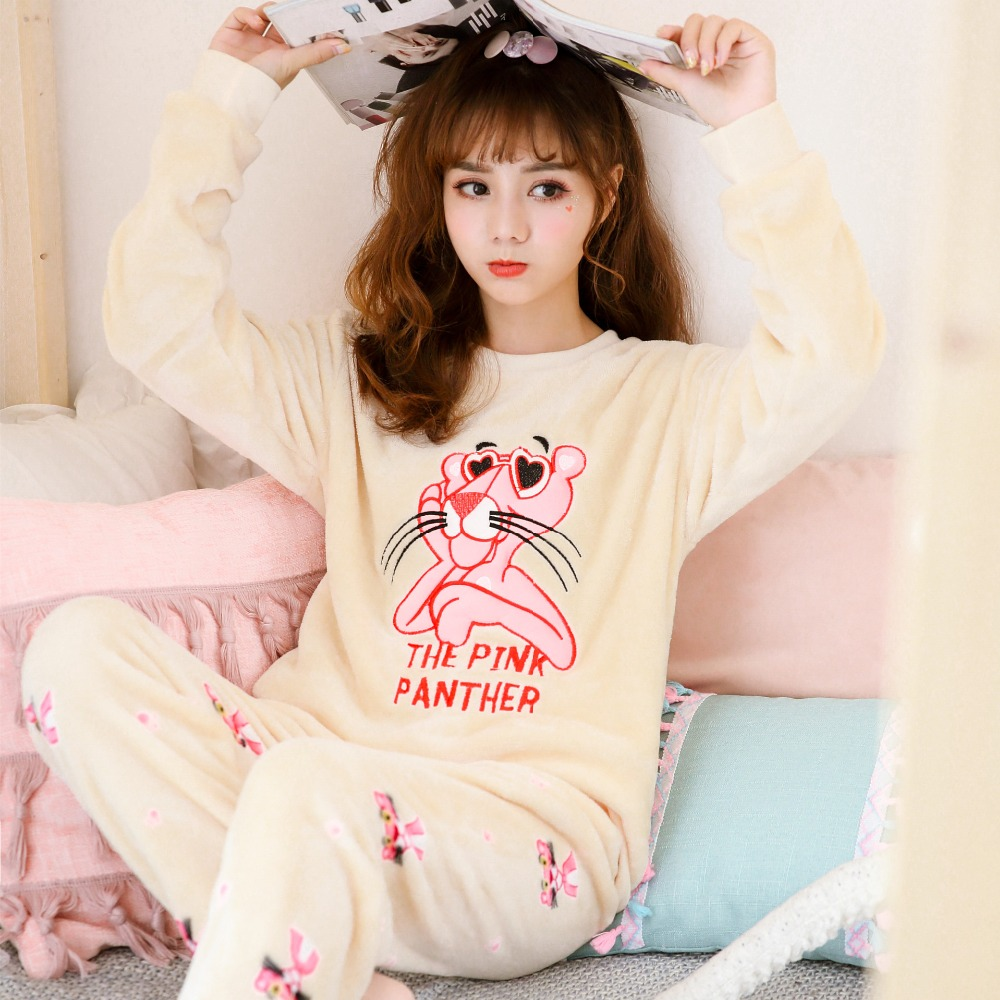 women   Pajamas     sets   Suit Winter Women   Pajamas     Set   Sleepwear Flannel   Pajamas   Nightwear Top+Pants 2pcs   Pajamas     Sets   Pijama Feminino