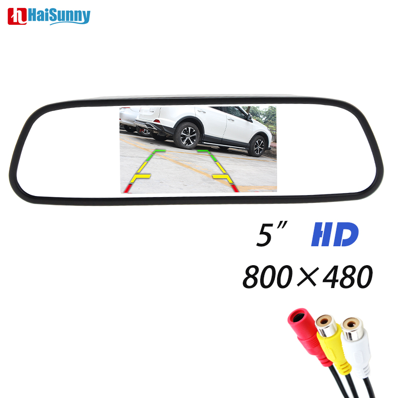 HaiSunny 5 Digital Color TFT 800*480 LCD Car Inner Mirror Monitor 2 Video Input For Rear view Camera Parking Assistance System sinairyu hd 800 480 car mirror monitor 5 tft lcd mirror car parking rear view monitor 2 video input connect rear front camera