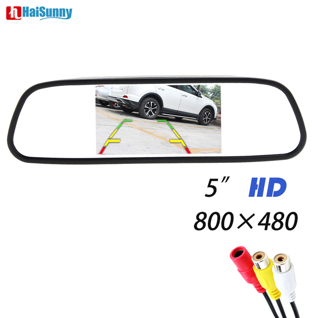 """HaiSunny 5"""" Digital Color TFT 800*480 LCD Car Inner Mirror Monitor 2 Video Input For Rear view Camera Parking Assistance System"""