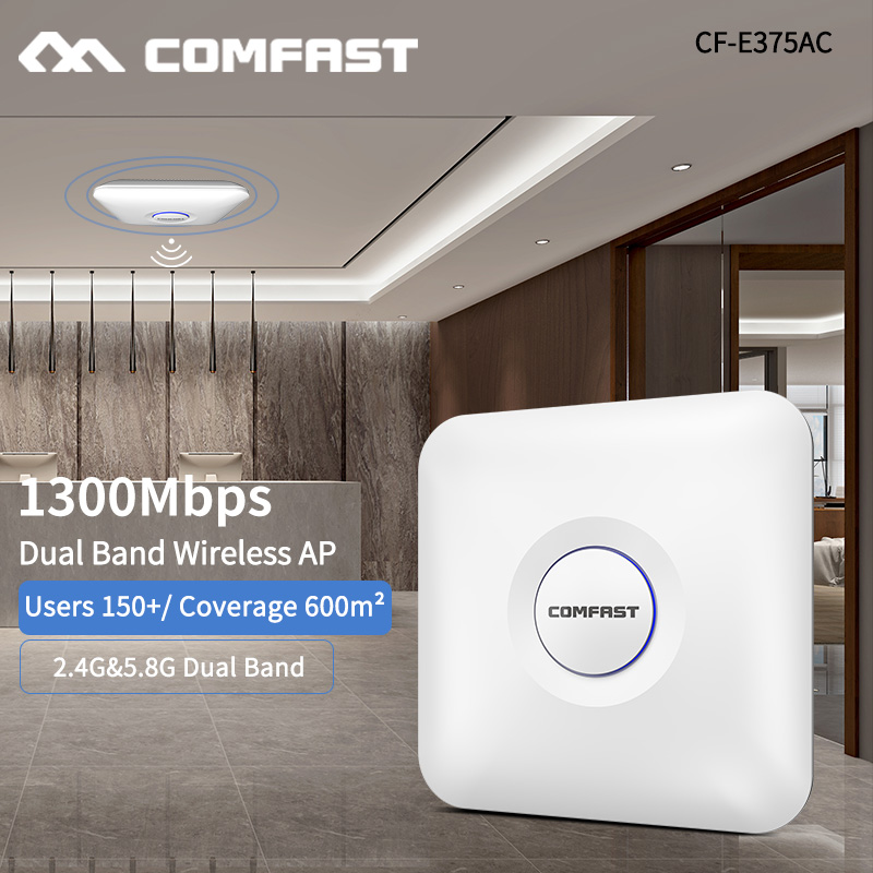 802.11AC 2.4+5.8G Dual Band 1300Mbps Ceiling Mount 2*Gigabit Ethernet Port WiFi AP Router Wireless Access Point 48V PoE Adapter