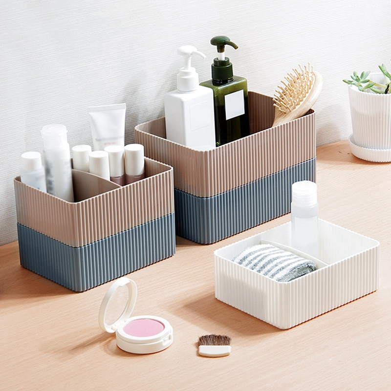 Grid Desktop Sundries Storage Box Makeup Organizer For Cosmetic Closet Bin Case Home Office Bathroom Storage Box makeup organizer box