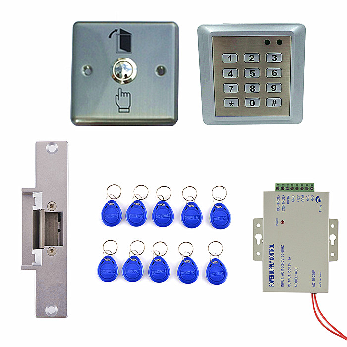 Waterproof RFID Reader Access Control Full Kit Set + Electric Strike Door Lock + Power Supply Brand New remote control rfid reader access control system full kit set electric strike door lock power supply k2000