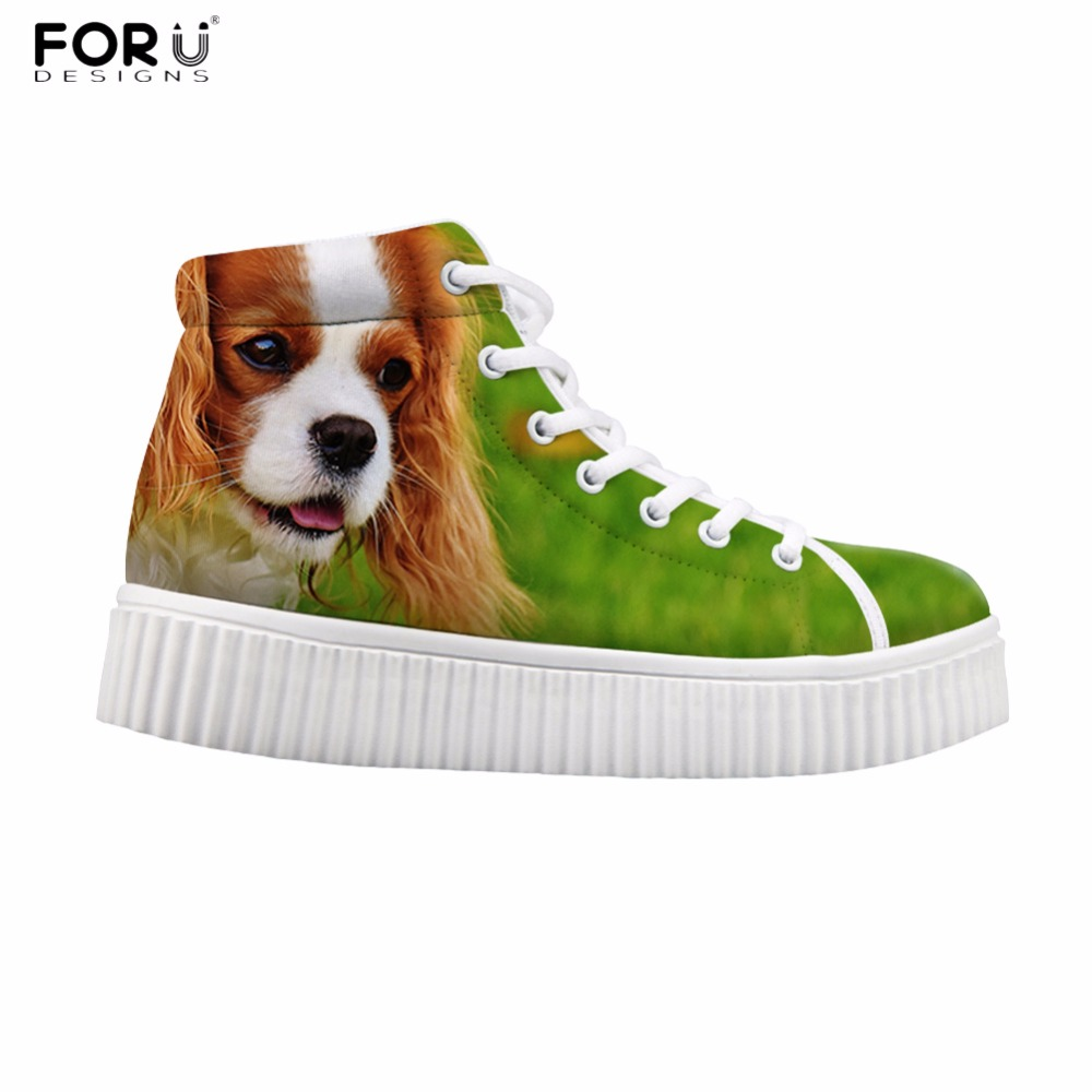 FORUDESIGNS Cute Animal Dog Cat Pattern Women High Top Flats Shoes Fashion Women's Casual Platform Shoes Height Increasing 2017 cute 18 inch animal cat dog printing