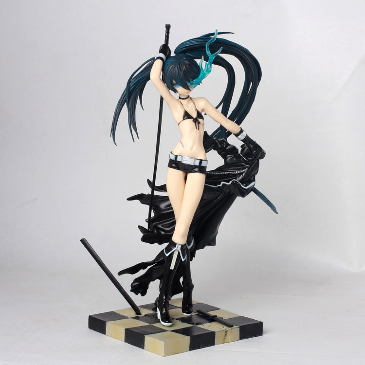 22cm Japanese Anime Action Figure Black Rock Shooter Toys Figure Long Sword Sexy Girl PVC Figure Resin Collection Model Toy free shipping cool 10 black rock shooter blade version miku boxed big size pvc action figure collection model toy gift