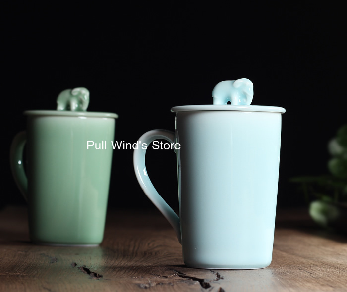 Exquis éléphant en céramique tasse vert beaux animaux tasse cue tasse