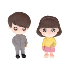 PVC Couples in Chinese Tunic Suit Figurines Micro Landscape Miniature Ornaments(China)