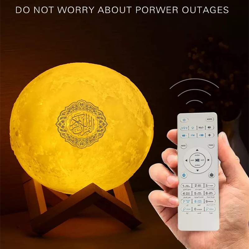 Quran Bluetooth Speakers Colorful Remote Control Small Moonlight LED Night Light Moon Lamp Moonlight Wireless Quran Speaker quran