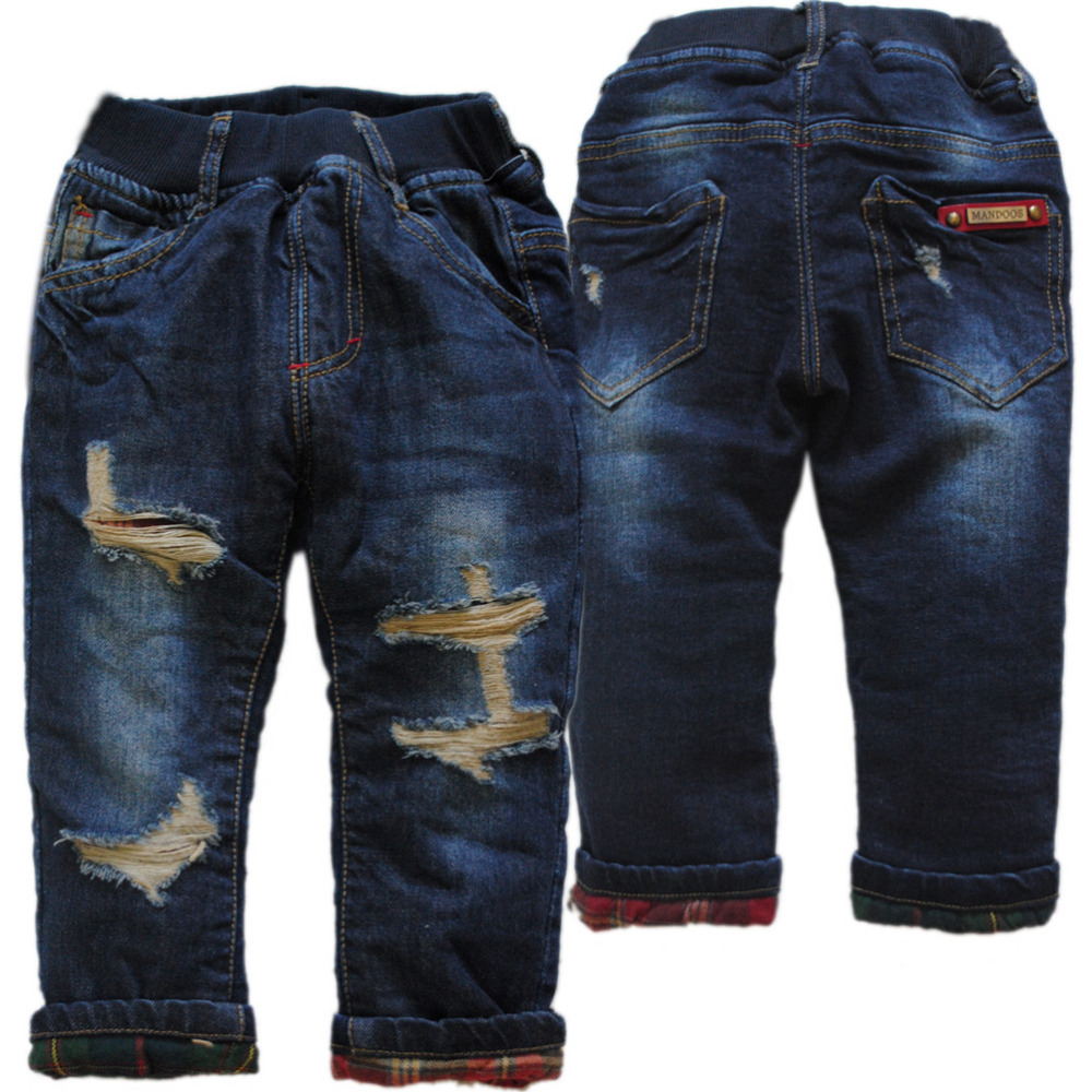 3990 kids regular very warm thick flecce and denim hole jeans winter jeans boy pants trousers Double-deck kids baby trousers
