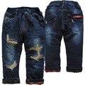 3990 regular muito quente espesso flecce jeans e calça jeans buraco calças de jeans menino calças de inverno Double-deck crianças bebê calças