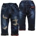 3990 regular muy cálido gruesa flecce y agujero de mezclilla pantalones vaqueros pantalones vaqueros de invierno pantalones de niño pantalones de dos pisos niños bebé pantalones