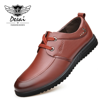 DESAI Brand Shoes Men Genuine Leather Spring Business Dress Casual British Man Shoes Round Head Breathable Soft Leather Shoes