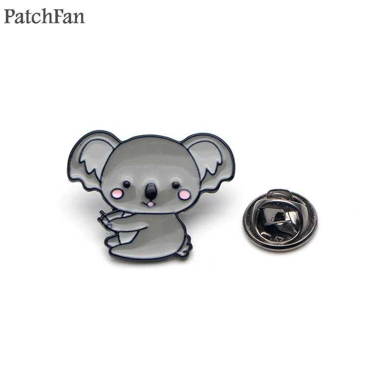 Patchfan Koala ayı DIY Emaye Pimleri giysi metal Hediye Takı çantası gömlek şapka sırt çantası amblemi Broş Rozetleri erkekler için a1595
