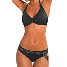 2ce5de239f Women Plus Size Print Bikini Swimjupmsuit Swimsuit Beachwear Padded  Swimwear Summer solid color black girl fashion