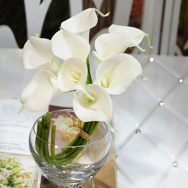 Online Shop 9pcs White Calla Lilies For Wedding Bouquet Real Touch ...