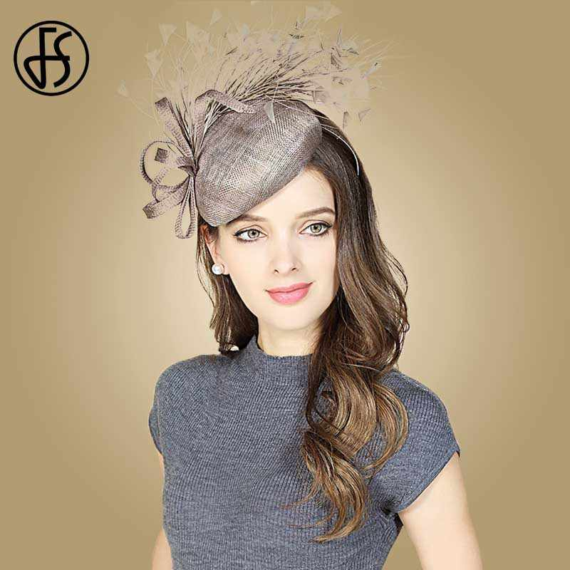 FS Royal Gray Brown Wedding Fascinators Sinamay Church Hats Women Feather Pillbox Lady Linen Fedora Hat British Derby Fedoras