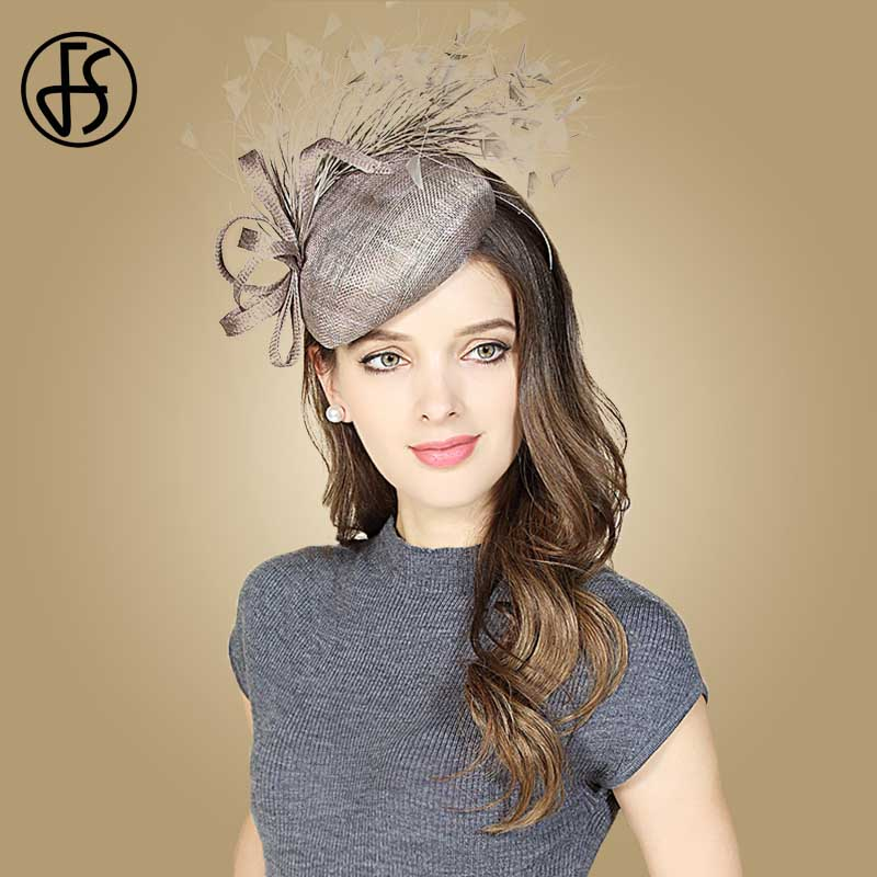 FS Fascinators Gray Brown Wedding Sinamay <font><b>Church</b></font> Hats Women Feather Pillbox Lady Linen Fedora Hat British Derby Fedoras image