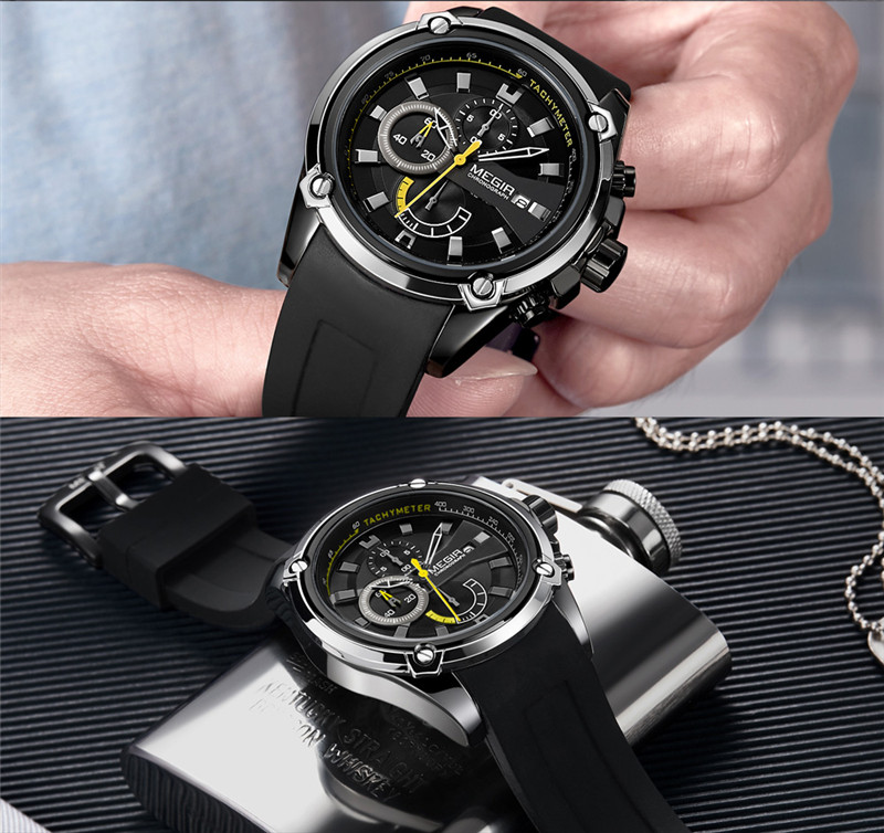 Image 2 - relogio masculino MEGIR Men Watch Top Brand Luxury Chronograph Waterproof Sport Male Clock Rubber Military Army Wristwatch 2086Quartz Watches   -