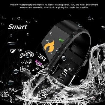 ใหม่ 115 PLU กันน้ำกีฬาสมาร์ทนาฬิกาผู้ชายผู้หญิง Heart Rate Fitness Tracker สายรัดข้อมือสมาร์ทสำหรับ Android IOS สมาร์ท...