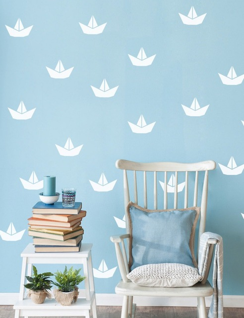 Nautical wall decal White Paper boat Wall Stickers For Kids Room Boy Girl  Home Decor Bedroom