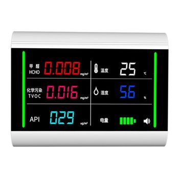 5-In-1 USB Rechargeable Air Quality Monitor Benzene HCHO TVOC LCD Digital Display Humidity Temperature Detector pm2 5 pm10 pm1 0 tvoc hcho tester aqi air quality analysis detector temperature humidity monitor smog meter w alarm clock