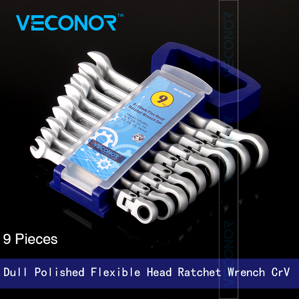Veconor 8 9 10 11 12 13 14 15 16mm Flexible Swievel Head Ratcheting Combination Wrench Spanner Set Dull Polished + Free Rack veconor 8pcs set ratchet spanner combination wrench set ratchet handle key chrome vanadium 8 10 12 13 14 15 17 19mm