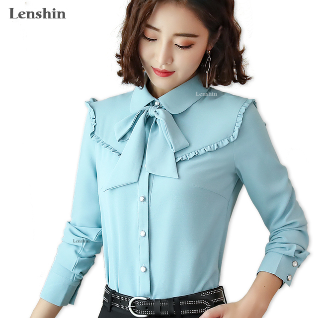 14af1ca8c669 Lenshin Candy Color Blouse Work Wear Office Lady Bow Tie shirts Female  Ruffle Tops Chemise