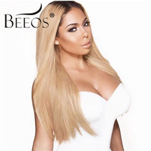 Beeos 150% Density Lace Front Human Hair Wigs for Women Ombre Blonde Malaysia Remy Hair 1B/27 Long Straight Wigs Bleached Knots(China)