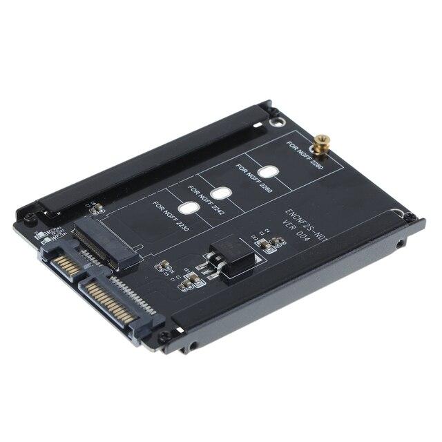 Nero Cassa del Metallo CY B + M Presa di 2 M.2 NGFF (SATA) SSD DA 2.5 SATA Adattatore per 2230/2242/2260/2280 millimetri m2 Disco A Stato Solido
