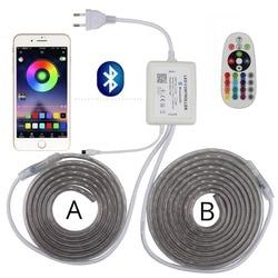 التطبيق و تحكم عن بعد RGB LED قطاع 220 V 1 التحكم 2 شريط LED إضاءة مقاومة للماء قطاع ضوء SMD5050 الشريط المنزل الديكور