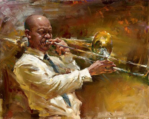 100%Handmade Dream art Oil painting male portraits playing Jazz music Jazz musicians canvas