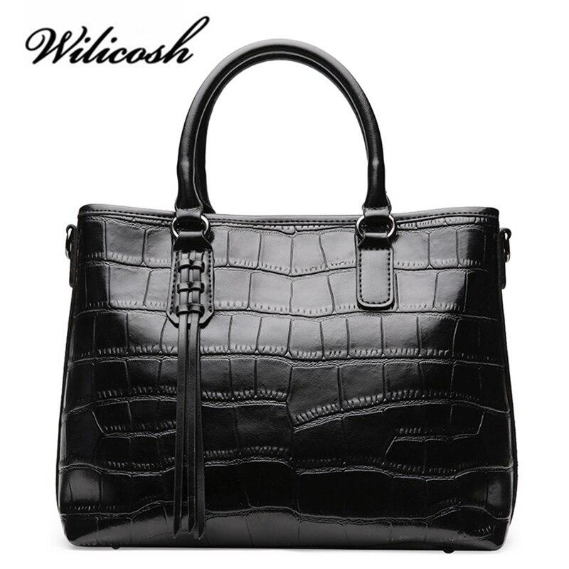 Bagaj ve Çantalar'ten Omuz Çantaları'de Wilicosh Kadın Çanta Hakiki Deri Timsah Desen En saplı çanta Kadın omuz çantaları Ünlü Markalar Bayan Çanta WBS079'da  Grup 1