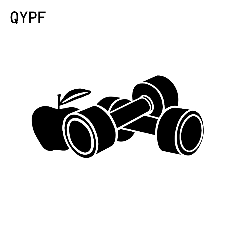 QYPF 17.2*8.2CM Gym Dumbbell Healthy Lifestyle Decor Car Styling Sticker Vinyl Accessories Silhouette C16-0862