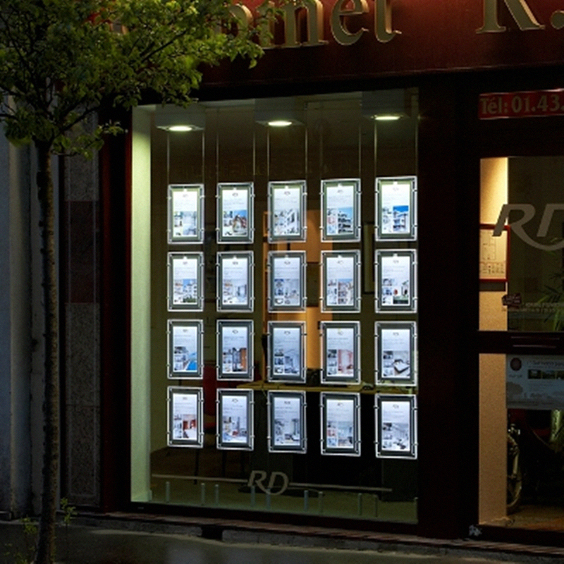 20PCS/lot Real Estate Agent / Travel Agent Window Hanging Acrylic LED Display Poster Frame A4 Light Boxes ...