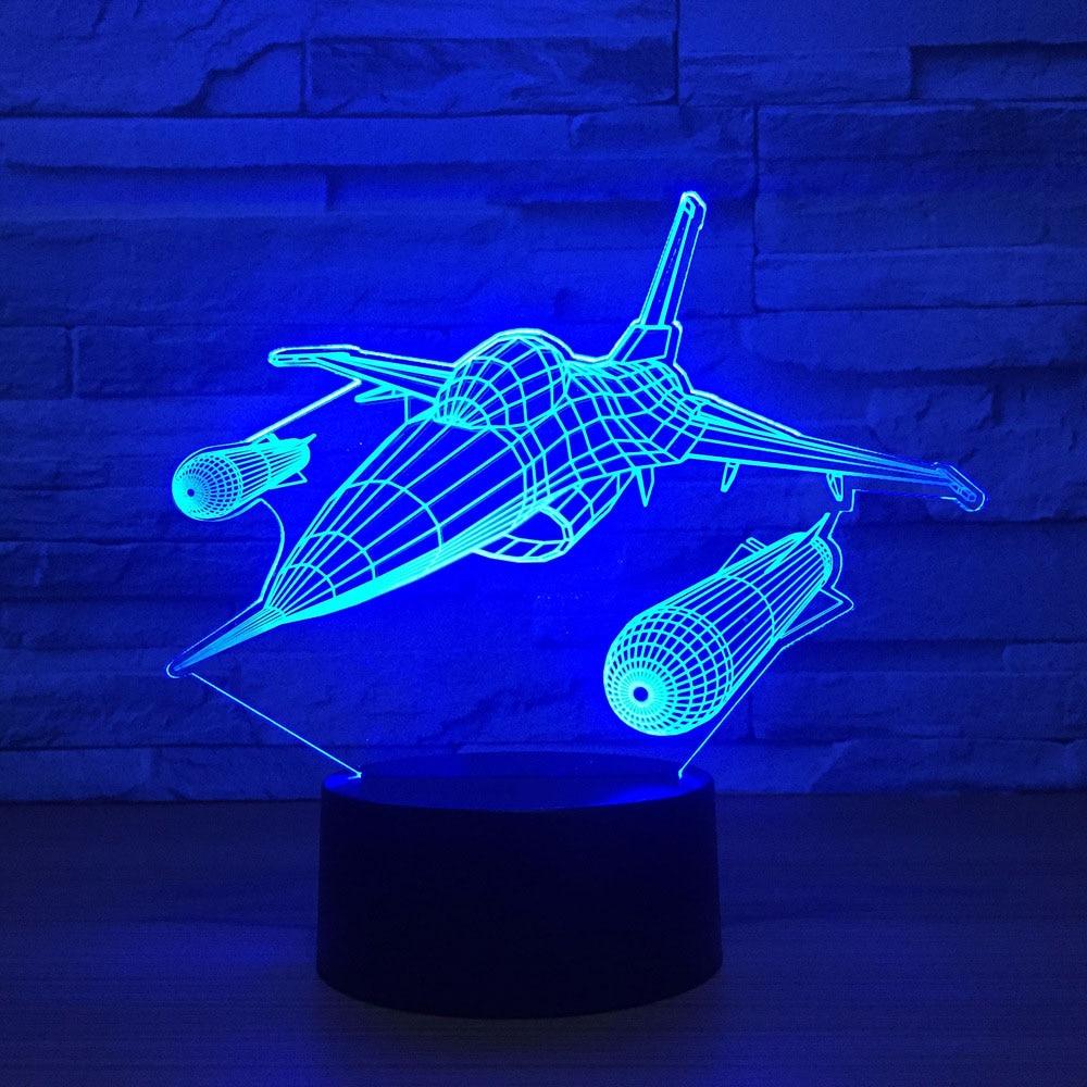 Flying Ships Aircraft 3D Led Desk Lamp 7 Colors Changing Night Light For Kids Bedroom Bedside Sleep Lighting Home Decor Gift