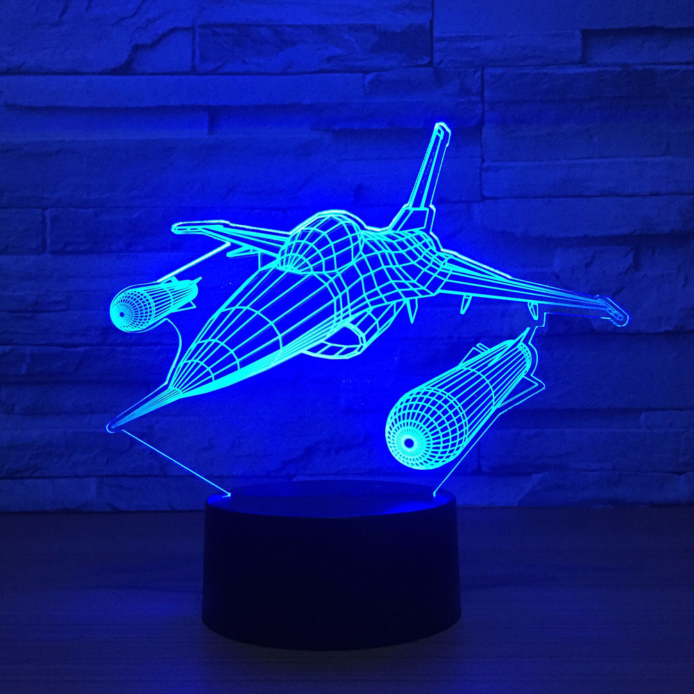 Flying Ships Aircraft 3D Led Desk Lamp 7 Colors Changing Night Light For Kids Bedroom Bedside Sleep Lighting Home Decor Gift