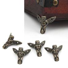 4 шт старинный Бронзовый Ангел Подарочная коробка Деревянный чехол Угловой протектор мебель Декор