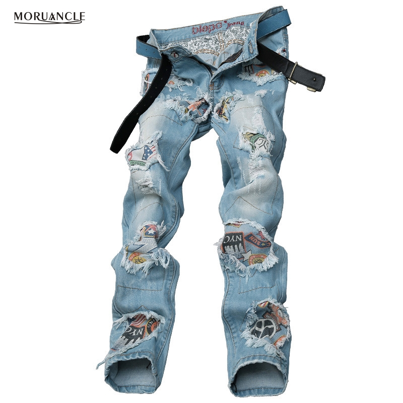 ФОТО Fashion Casual Patch Jeans Pants Slim Fit Distressed Denim Trousers Patchwork Light Blue Personality Torn Jeans Joggers For Man
